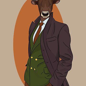 Retro Bull man. Antropomorphic print by TorriPhoto