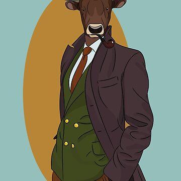 Retro Bull man. Vector hipster illustration. Antropomorphic print by TorriPhoto