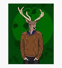 Anthropomorphic hipster deer man print Photographic Print