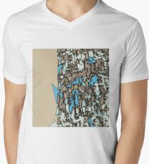 drawing and sketching abstract in blue with brown background T-Shirt