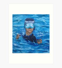 chris in pool no wall Art Print