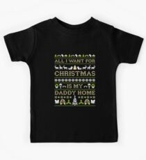 3a8d4337 Military Kid Brat All I Want For Christmas Is My Daddy Home Kids T-Shirt