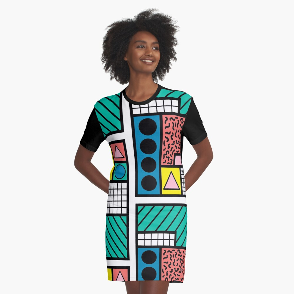 80s Memphis Pattern T-shirt Dress
