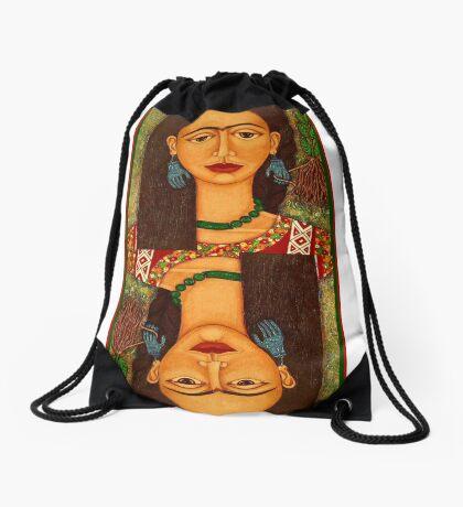 Frida Kahlo, reina de corazones Drawstring Bag