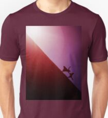 Red purple diagonal surrealist photo of people falling off earth square Hasselblad medium format film analogue T-Shirt