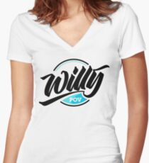 Camiseta entallada de cuello en V Willy POV Badge