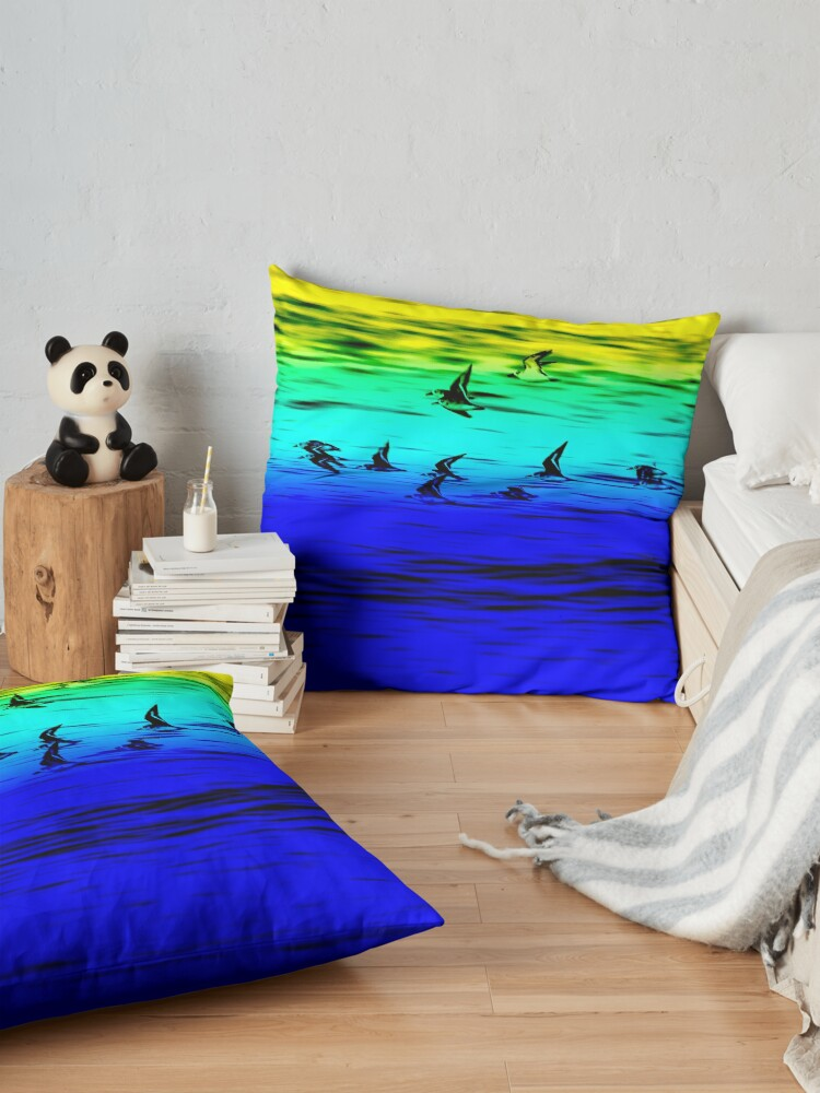 Alternate view of Sanderlings flying Floor Pillow