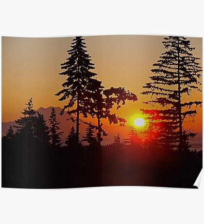 MT. RAINER AT SUNRISE (PRESENTED AS A PAINTING) Poster