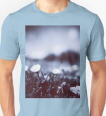 Daisies on lawn blue closeup macro bokeh square Hasselblad medium format film analog photo Unisex T-Shirt