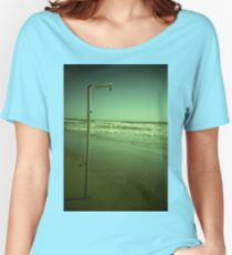 Beach shower in surreal green 35mm xpro cross processed lomographic film lomography analog photo Women's Relaxed Fit T-Shirt