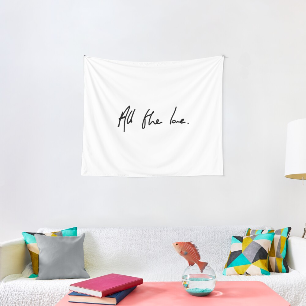 All the Love H Styles Handwriting Design Tapestry