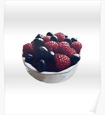Raspberry Blueberry Fruit Bowl Design Poster