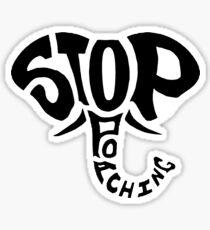Stop Poaching Elephant: Black Sticker