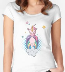 Vector flat funny magic unicorn on cloud isolated on white background. Cartoon style. kids emoji smile character. Animal facial expression and emotion. Fairy pink horse. Children illustration. Women's Fitted Scoop T-Shirt