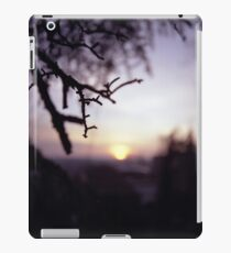 Tree branch in silhouette against sunset dusk evening sky square medium format film analog photographers iPad Case/Skin
