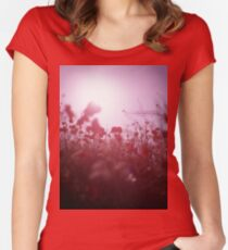 Red wild flowers poppies on hot summer day Hasselblad square medium format film analogue photography Women's Fitted Scoop T-Shirt