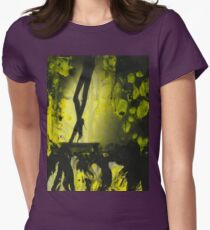 Yellow water color painted silver gelatin black and white print  of legs of female dancer analog film photo Womens Fitted T-Shirt