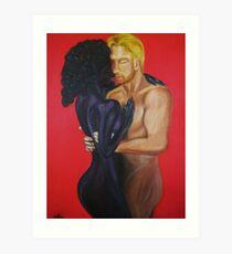 Interracial love art