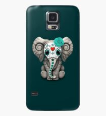 Teal Blue Day of the Dead Sugar Skull Baby Elephant Case/Skin for Samsung Galaxy