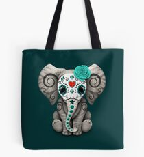 Teal Blue Day of the Dead Sugar Skull Baby Elephant Tote Bag