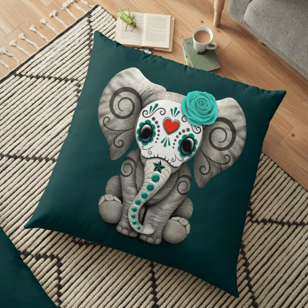 Teal Blue Day of the Dead Sugar Skull Baby Elephant Floor Pillow