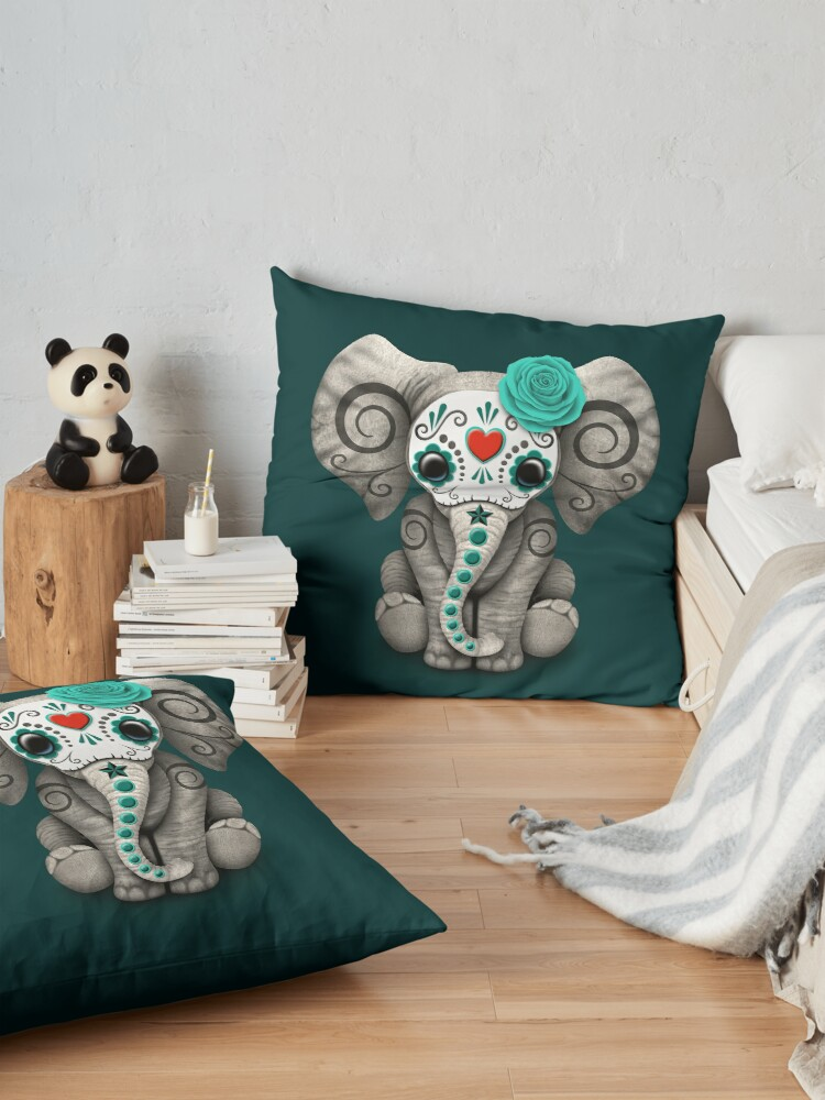 Alternate view of Teal Blue Day of the Dead Sugar Skull Baby Elephant Floor Pillow