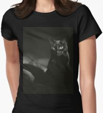 Film noir portrait of black cat Hasselblad square medium format film analogue photograph handmade darkroom print Womens Fitted T-Shirt