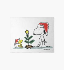 Christmas Tree with Snoopy and Woodstock (Peanuts Comic) Art Board