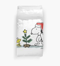Christmas Tree with Snoopy and Woodstock (Peanuts Comic) Duvet Cover
