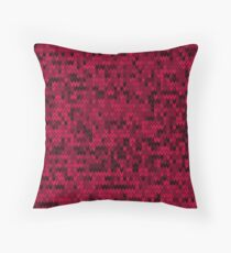 Red knitted textiles Throw Pillow