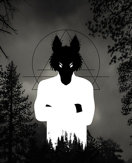 Holy black spirit wolf in white with occult symbolism by antontales