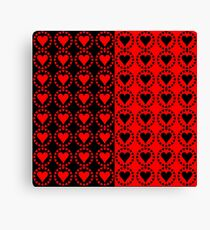 Red heart Black heart Canvas Print