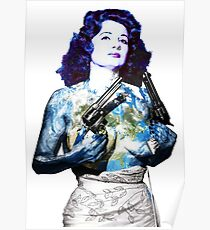 """Title: """"Keep Moving"""" Queen Of Burlesque, Sexy Earth Girl with Guns Poster"""