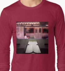 Train table and station Hasselblad medium format 120 square 6x6 negative c41 color analogue photograph Long Sleeve T-Shirt