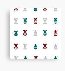 Red, Green and Silver Christmas Ornament Pattern Canvas Print