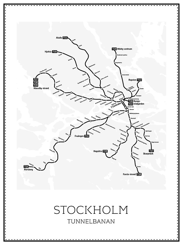 Stockholm Subway Map Geographic Posters By Vanaltena Redbubble - Sweden tunnelbana map