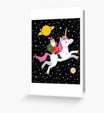 Christmas Santa Unicorn Space Rider  Greeting Card