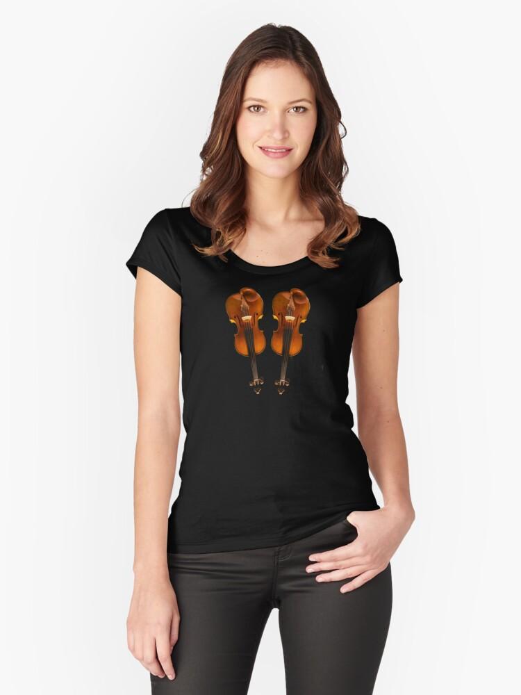 'Diseño twin violin Stradivarius' Camiseta entallada de cuello redondo by TJ Devadatta Best