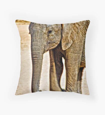 Baby Elephant Walking Throw Pillow