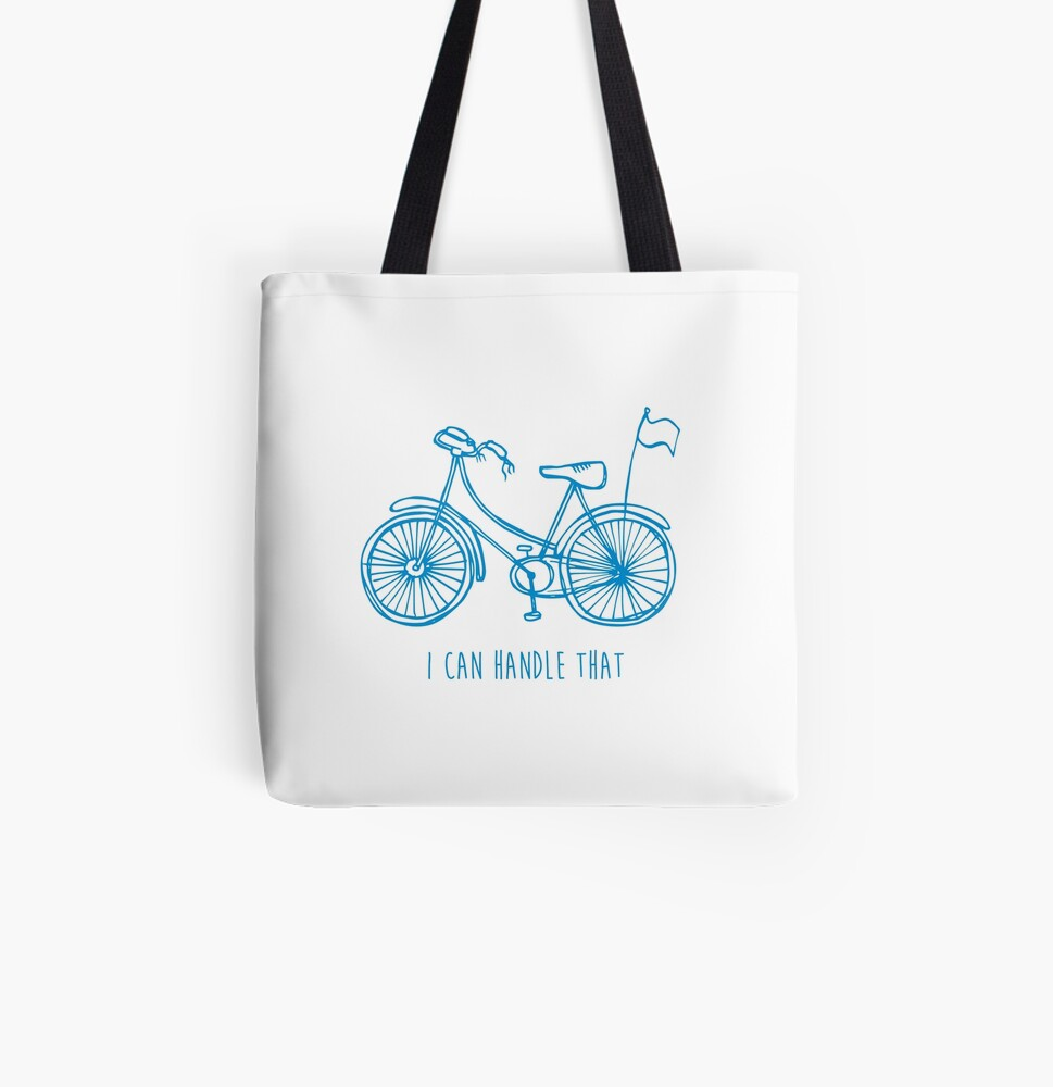 Hipster bicycle - blue All Over Print Tote Bag