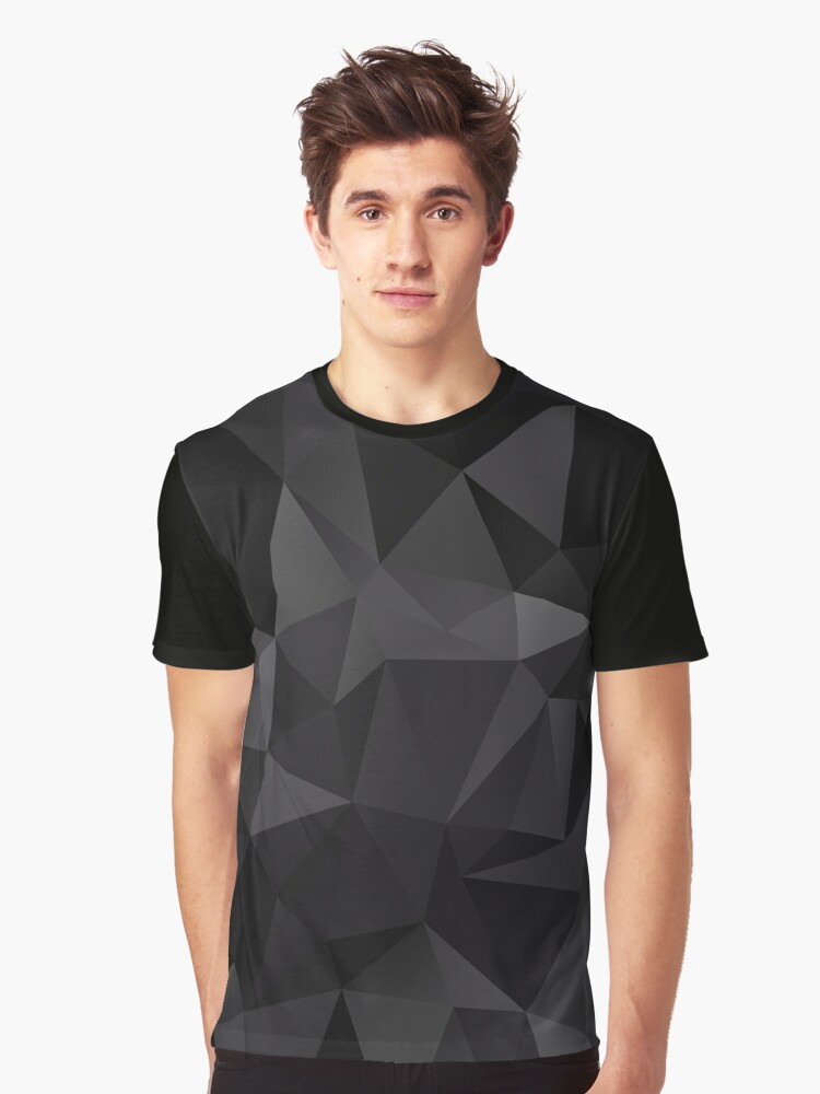 Abstract background of triangles polygon wallpaper in black colors Graphic T-Shirt Front