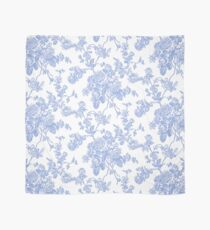 Toile, Cornflower Blue Roses Pattern Scarf