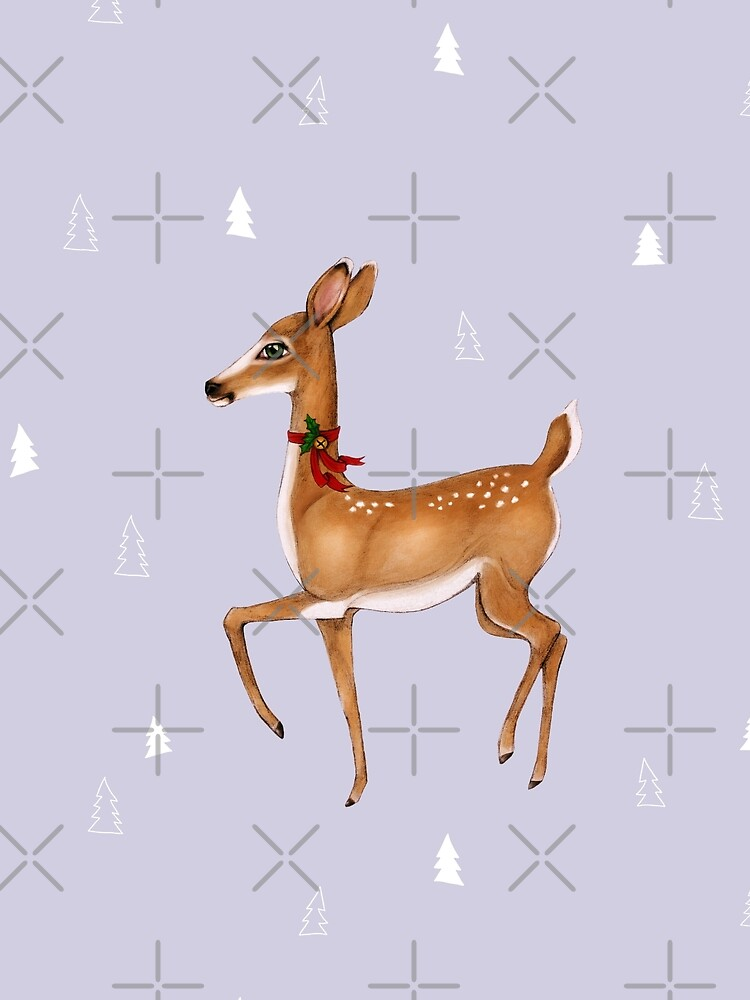 Christmas Deer on Lilac Grey  by ThistleandFox