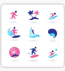 Beach icons blue with pink Sticker