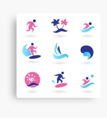 Beach icons blue with pink Canvas Print