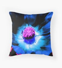 Blue Poppy 1 (F.21) Throw Pillow