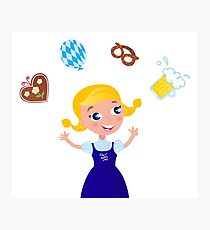 Blue octoberfest girl Photographic Print