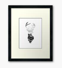 Deer Head Scenic Hills Design Framed Print