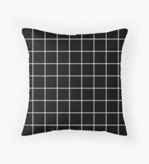grid, white and black Throw Pillow