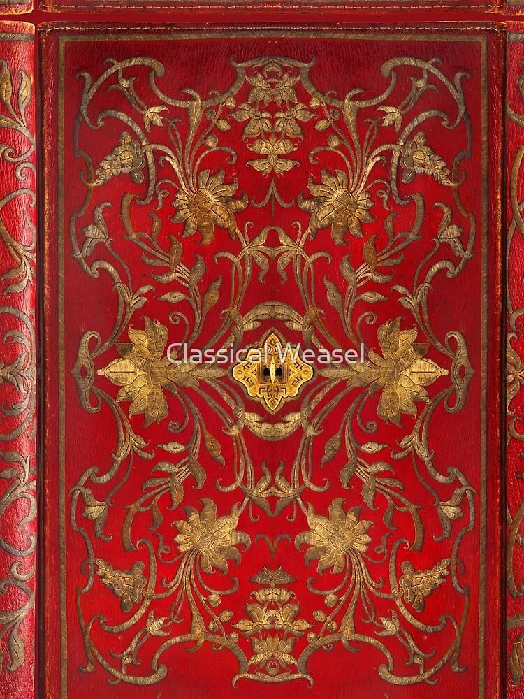 Red 'portefuille' Buchcover mit Goldfaden und Schloss, 1764 von classicalweasel